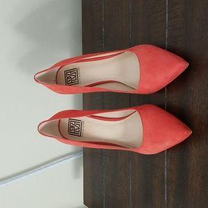 Pour La Victoire Red Leather Vero Cuoio Closed Toe Pump Heels Size 10